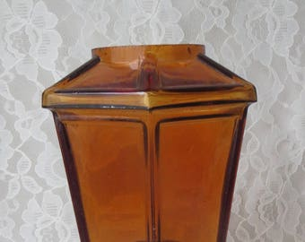 Vintage Candle Holder with Amber Glass 6 Sided Shade Ornate Copper, Spring Loaded