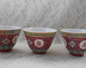 Vintage Famille Rose Deep Pink Tea Cups 2-1 4 x 4-1 2 quot , Symbols of Longevity, Luck Happiness, Mun Shou, Jingdezhen Made in China, Set of 3