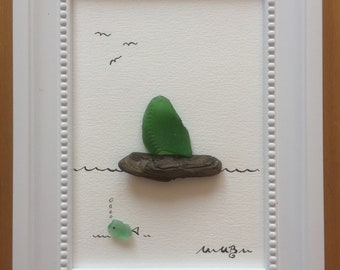 "Driftwood-glass-picture ""green sailboat"""