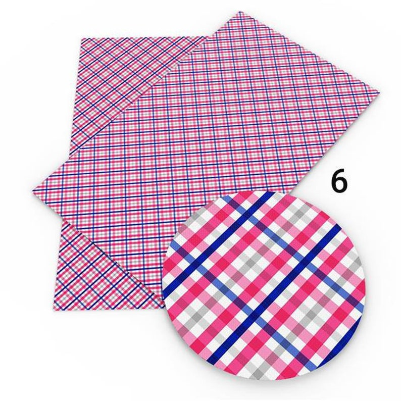 Next Day Shipping Solid Dots Chevron Plaid Faux Leather Sheets Hair Bow Knot Making Leather Crafts #Dots,Plaid,Ging,Chev,Star,Gl,So F11