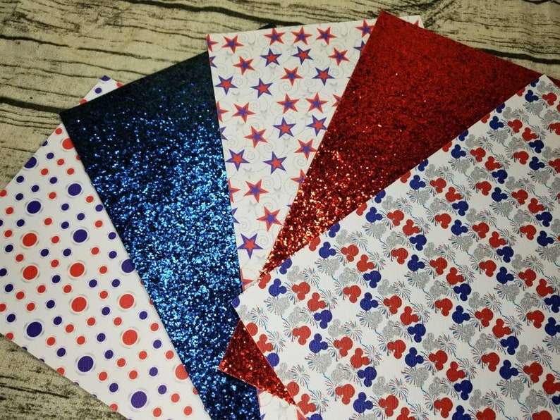 5 Piece Patriotic 4th of July Stard Glitter Faux Leather Sheets Hair Bow Knot Making Leather Crafts