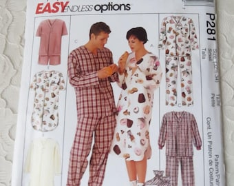 18bf7e346c McCalls P281 Sewing Pattern Pajama Top   Bottoms Nightshirt Booties Men  Women Teens Size Small 32-1 2 - 34