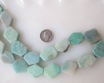 Amazonite Faceted Flat Nugget Beads Freeform Natural Blue Green Avg 17 x 20mm, Half Strand