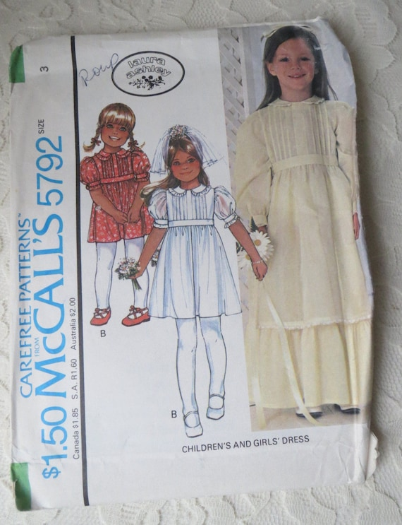 McCalls 5792 Sewing Pattern Laura Ashley Dress with Variations | Etsy