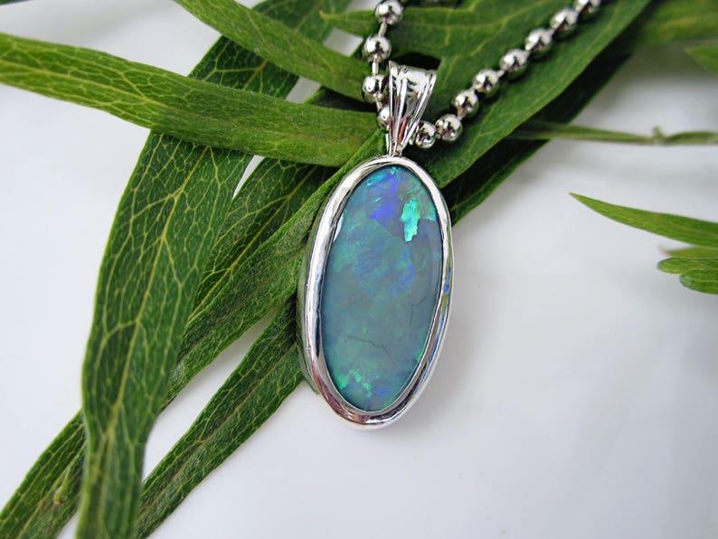 Australian Opal Pendant Necklace 925 Sterling Silver