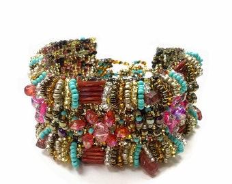 5a3a3402dea Wide Beaded Bracelet - Floral Design - Bead Loom bracelet- Cuff bracelet  -Gift for Mum -Boho Chic Bracelet- Seed bead Bracelet, Multicolor