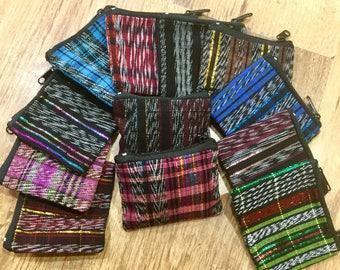 Set of 10 Guatemalan Mayan Zip Coin Purses Jaspe / Cotton fabric Handmade / Fair Trade