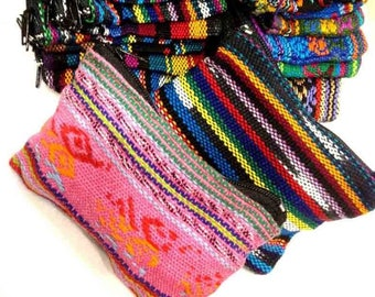 Set of 12 Guatemalan Mayan Zip Coin Purses Jaspe / Cotton fabric Handmade / Fair Trade