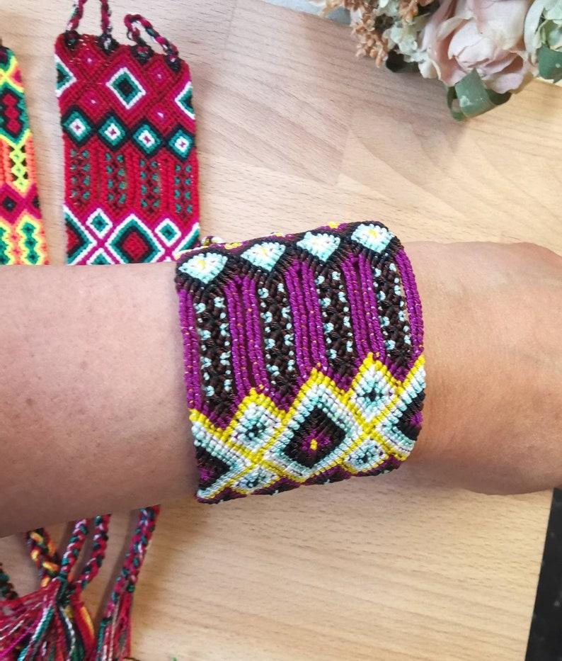 Macrame Wristband Hippie Fashion Handmade Thread Bracelet Boho Wide Design Woven Friendship Bracelets Wide Cuff Bracelet Multi colour