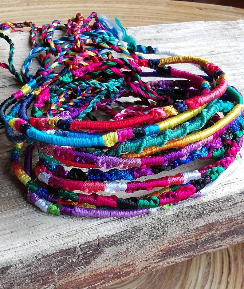 9568e599403 Silk Friendship Bracelet and Anklet Braided Rainbow Colour | Etsy