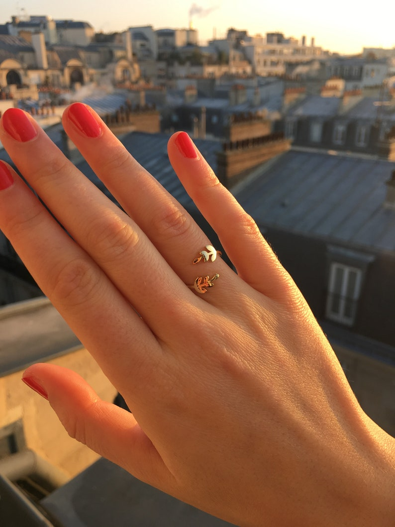 Women gold plated Laurel ears ring  adjustable thin ring  women gift