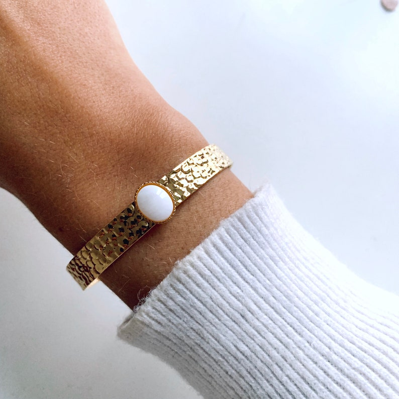 Women/'s bracelet golden natural stone rush  Woman gift  Gold adjustable Jonc with fine gold