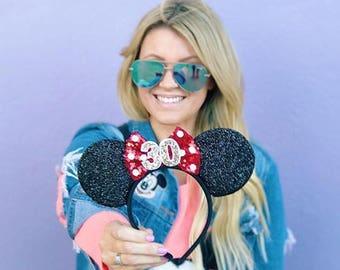 30th Birthday   Red Polka Dot Disney Ear   Minnie Mouse Ear Headband    Sparkly Minnie Ears   Minnie Mouse Party   Mickey Ears   Disney Ears