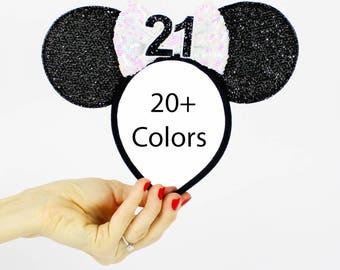 21st Birthday Minnie Mouse Ear Headband    Disney Ear   Sparkly Minnie Ears   Minnie Mouse Party   Mickey Ears   Disney Ears   Black + White