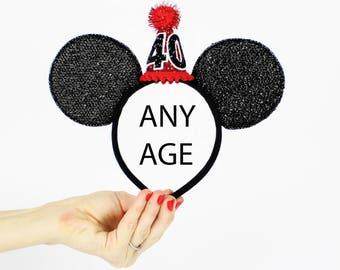 Red Minnie Mouse Ear Headband    Disney Ear   Sparkly Minnie Ears   40th Birthday   Minnie Mouse Party   Mickey Ears   Disney Ears  