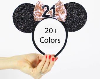 Rose Gold Minnie Mouse Ear Headband    Disney Ear   Sparkly Minnie Ears   21st Birthday   Minnie Mouse Party   Mickey Ears   Disney Ears  