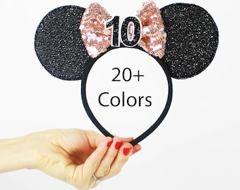 10th Birthday Rose Gold Minnie Mouse Ear Headband    Disney Ear   Sparkly Minnie Ears   Minnie Mouse Party   Mickey Ears   Disney Ears  