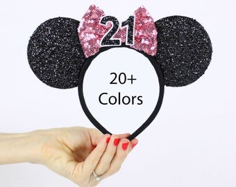 Pink Disney Ear   Minnie Mouse Ear Headband    Sparkly Minnie Ears   21st Birthday   Minnie Mouse Party   Mickey Ears   Disney Ears   Disney