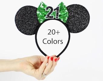 Green Disney Ear   Minnie Mouse Ear Headband    Sparkly Minnie Ears   21st Birthday   Minnie Mouse Party   Mickey Ears   Disney Ears