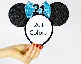 21st Birthday Minnie Mouse Ear Headband    Disney Ear   Sparkly Minnie Ears   Minnie Mouse Party   Mickey Ears   Disney Ears   Black + Blue