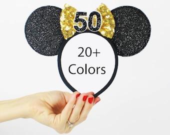 50th Birthday   Minnie Mouse Ear Headband    Disney Ear   Sparkly Minnie Ears   Minnie Mouse Party   Mickey Ears   Disney Ears  