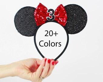 3rd Birthday Minnie Mouse Ear Headband    Disney Ear   Sparkly Minnie Ears   3rd Birthday   Minnie Mouse Party   Mickey Ears   Disney Ears  