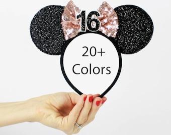 Rose Gold Minnie Mouse Ear Headband    Disney Ear   Sparkly Minnie Ears   16th Birthday   Minnie Mouse Party   Mickey Ears   Disney Ears  