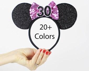 30th Brithday Minnie Mouse Ear Headband    Dirty 30   Sparkly Minnie Ears   30th Birthday   Minnie Mouse Party   Mickey Ears   Disney Ears  