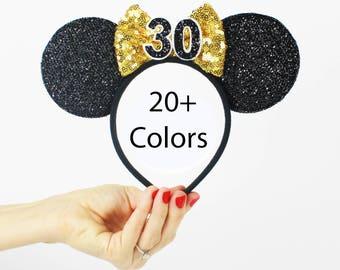 30th Birthday   Minnie Mouse Ear Headband    Disney Ear   Sparkly Minnie Ears   Minnie Mouse Party   Mickey Ears   Disney Ears  