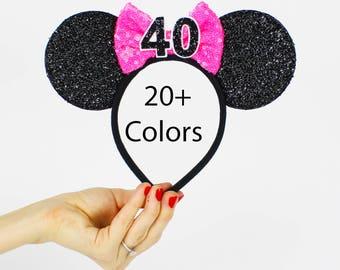 Hot Pink Minnie Mouse Ear Headband    Disney Ear   Sparkly Minnie Ears   40th Birthday   Minnie Party   Mickey Ears   Disney Ears  