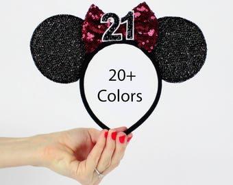 Maroon Minnie Mouse Ear Headband    Disney Ear   Sparkly Minnie Ears   21st Birthday   Minnie Mouse Party   Mickey Ears   Disney Ears  