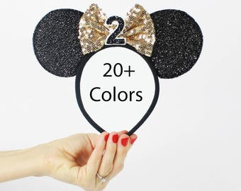 2nd Birthday Disney Ear   Minnie Mouse Ear Headband    Sparkly Minnie Ears   2nd Birthday   Minnie Mouse Party   Mickey Ears   Disney Ears