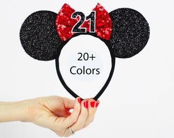 Red Minnie Mouse Ear Headband    Disney Ear   Sparkly Minnie Ears   21st Birthday   Minnie Mouse Party   Mickey Ears   Disney Ears  
