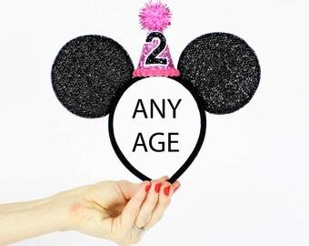 2nd Birthday Minnie Ear   Minnie Mouse Ear Headband    Sparkly Minnie Ears   2nd Birthday   Minnie Mouse Party   Mickey Ears   Disney Ears
