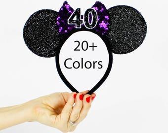 Grape Purple Minnie Mouse Ear Headband    Disney Ear   Sparkly Minnie Ears   40th Birthday   Minnie Party   Mickey Ears   Disney Ears  