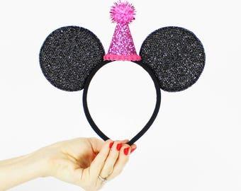 Birthday Minnie Ear   Minnie Mouse Ear Headband    Sparkly Minnie Ears   2nd Birthday   Minnie Mouse Party   Mickey Ears   Disney Ears