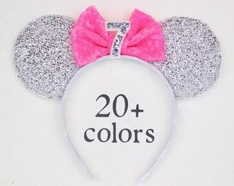 7th Birthday Minnie Mouse Ear Headband With Sequin Bow   Minnie Ear   Seventh Birthday Headband   Disney Ear   Minnie Ears Silver + Hot Pink