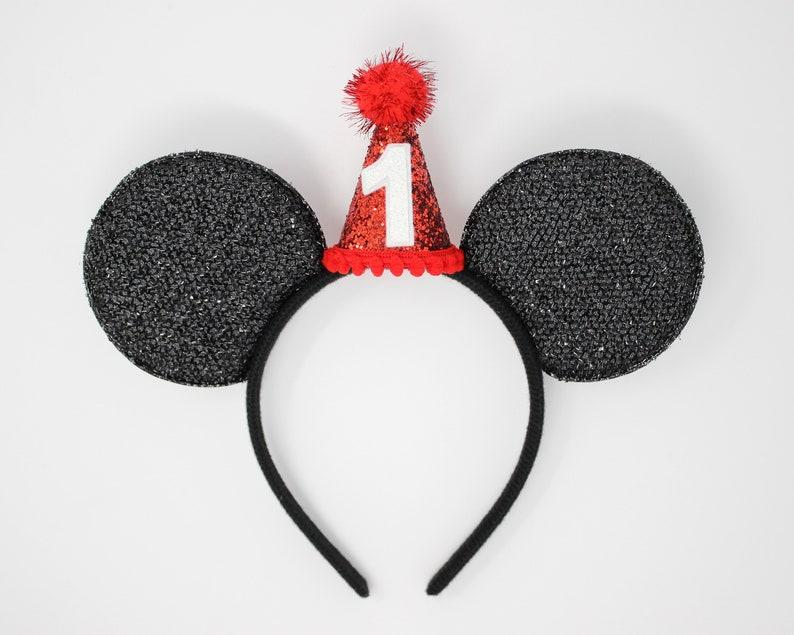Mickey Ear Birthday Headband Red Disney Birthday Ears with Party Hat Disney Birthday Party Hat 1st Birthday Disney Ears