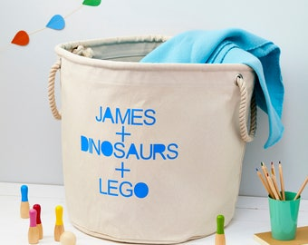 Personalised Toy Storage Bag - Boys Bedroom Storage - Nursery Storage Bags - Canvas Storage Bag & Personalised School Bag Custom Boys Bag Storage Bag For