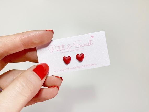 Tiny Red Heart Earrings Valentines Gift Xoxo Earrings For Etsy