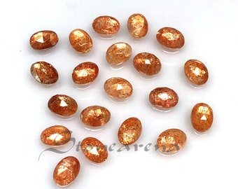 Size Smooth Sunstone Making For Silver Jewelry 63.70 Ct. Amazing Natural Sunstone Cabochon Gemstone Lot Perfect 9x7x5 MM