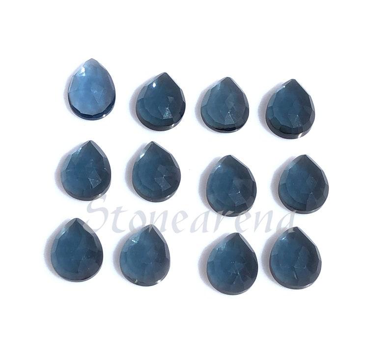 10x8 mm. London Blue Quartz Cut Loose Gemstone London Blue Quartz Pear Rose Cut Cabochon Lot London Blue Quartz Faceted Gemstone Lot