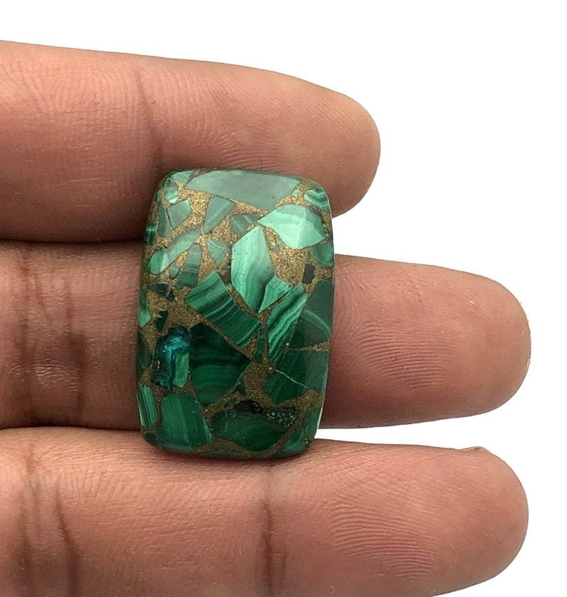 Copper Malachite Designer Cabochon Copper Malachite Smooth Cabochon e Gemstone. 32 Cts 27x18 mm Copper Malachite Rectangle Cabochon