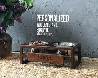 Premium Dog Bowl Stand, Different Color, Wood, Raised Dog Bowl, Elevated Dog Bowl, Rustic Farmhouse Dog Bowl, Dog Feeding Stand