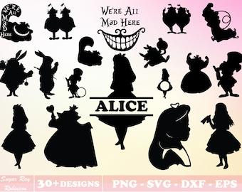 Alice in Wonderland Svg Bundle, Alice in Wonderland Png,  Alice in Wonderland Split Silhouette Clipart Vector Cut File