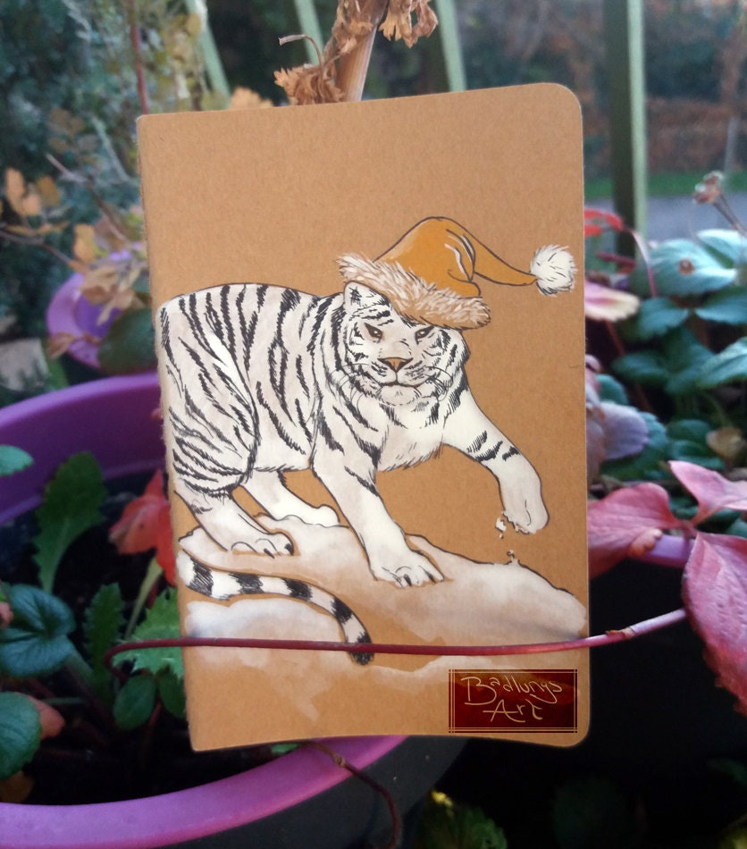 Christmas Tigers Tigers Christmas notebook - hand drawn cover kraft sketchbook 3da6ad