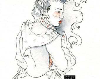 Constance, on a windy day - ink illustration