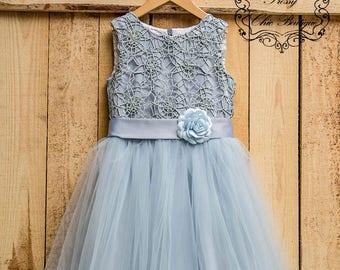 Gray lace flower girl dress girls tutu dress tulle lace baby dress flowergirl rustic flower girl dresses gray tutu dress  for girls tulle