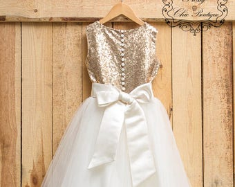 41f1b4d55d4c Sparkly gold flower girl dress sequin ivory tulle lace dress girl pageant dress  girls tutu dresses for girls birthday wedding party dresses