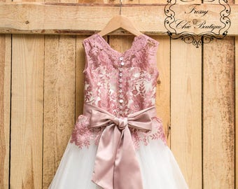 Dusty Pink Dress Girls Lace Flower Girl Communion Tulle Toddler